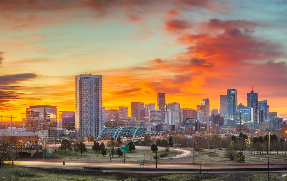 Denver Colorado Skyline During a Sunset